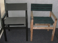 Revitalised outdoor chairs in new canvas