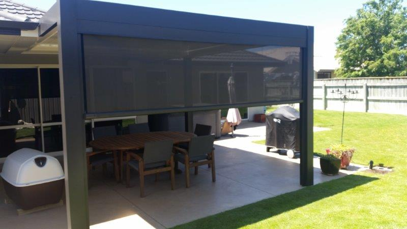 Louvre roof with outdoor mesh screen hawkes bay Screens for outdoor areas